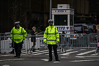 NEW YORK, NY - APRIL 4: NYPD officers take care of traffic in front of Trump Tower Where United States First Lady Melania Trump is living on April 4, 2017 in Manhattan, New York. Police Commissioner James O'Neill told lawmakers in February it costs the NYPD between $127,000 and $146,000 a day to protect the first lady and her 11-year-old son Barron. When the president is in town, the city pays more than $308,000.  Photo by VIEWpress/Eduardo MunozAlvarez