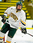 12 December 2009: University of Vermont Catamount defenseman Josh Burrows, a Junior from Prairie Grove, IL, warms up prior to a game against the St. Lawrence University Saints at Gutterson Fieldhouse in Burlington, Vermont. The Catamounts shut out their former ECAC rival Saints 3-0. Mandatory Credit: Ed Wolfstein Photo