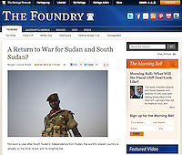 Screengrab of &quot;South Sudan at war&quot; published in Heritage Foundation