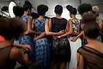 JOHANNESBURG, SOUTH AFRICA - MARCH 29: Models being prepared backstage for a show at Joburg Fashion Week on March 29, 2012, in Johannesburg, South Africa. (Photo by Per-Anders Pettersson)