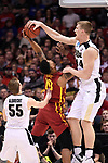 MILWAUKEE, WI - MARCH 18: Purdue Boilermakers center Isaac Haas (44) blocks the shot of Iowa State Cyclones forward Darrell Bowie (10) during the 2017 NCAA Men's Basketball Tournament held at BMO Harris Bradley Center on March 18, 2017 in Milwaukee, Wisconsin. (Photo by Jamie Schwaberow/NCAA Photos via Getty Images)