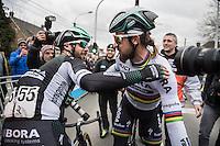 Peter Sagan (SVK/Bora-Hansgrohe) is congratulated by teammate Michael Schwarzmann (DEU/Bora - Hansgrohe) after winning the 69th Kuurne-Brussel-Kuurne 2017 (1.HC)