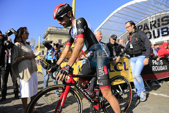 Matteo Bono (ITA) UAE Team Emirates at sign on for the 115th edition of the Paris-Roubaix 2017 race running 257km Compiegne to Roubaix, France. 9th April 2017.<br /> Picture: Eoin Clarke | Cyclefile<br /> <br /> <br /> All photos usage must carry mandatory copyright credit (&copy; Cyclefile | Eoin Clarke)