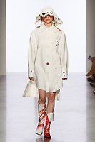 Model walks runway in an outfit by Yuting Song, for the 2017 Pratt fashion show on May 4, 2017 at Spring Studios in New York City.