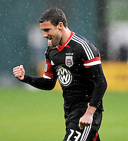 D.C. United midfielder Chris Pontius (13) celebrates his first goal in the 8th minute of the game. D.C. United defeated The New York Red Bulls 4-1 at RFK Stadium, Sunday April 22, 2012.