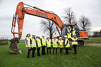 A mix of Secondary and Primary school pupils turn the first sod at the site of the new Newark Academy being built by Kier Construction