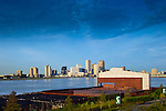 Recently developed Crescent Park on the Missisippi River in New Orleans.  The concrete remnant of the old Piety wharf building still stands in place.