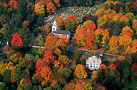 Church aerial view autumn, Berkshires, Lenox, MA