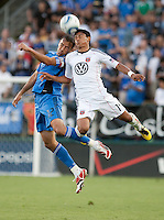 Ramiro Corrales (12) goes up for the header against Andy Najar (14). The San Jose Earthquakes tied DC United 1-1 at Buck Shaw Stadium in Santa Clara, California on July 3rd, 2010.