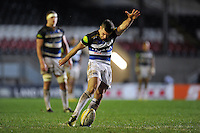George Ford of Bath Rugby kicks for the posts. Aviva Premiership match, between Leicester Tigers and Bath Rugby on November 29, 2015 at Welford Road in Leicester, England. Photo by: Patrick Khachfe / Onside Images