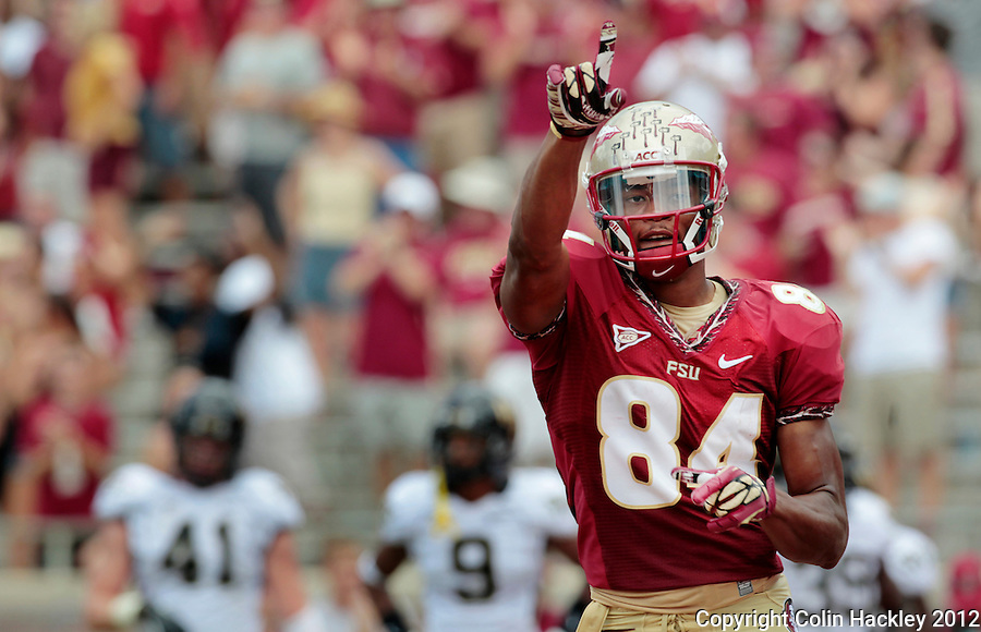 TALLAHASSEE, FL 9/15/12-FSU-WAKE091512 CH-Florida State's Rodney Smith celebrates his touchdown during first half action against Wake Forest Saturday at Doak Campbell Stadium in Tallahassee. The Seminoles shut out the Demon Deacons 52-0..COLIN HACKLEY PHOTO