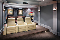 The client wanted a full theater experience, however, falling within a very static budget was paramount. The design had to be very concise; ongoing and/or progressive design changes/costs were not an option. The client wanted a theater that would stand the test of time for his growing family.