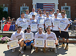 Wantagh, New York, USA. July 4, 2016. High school Wantagh Warriors baseball team members pose for group photo with Certificates issued by Nassau County Supervisor, at the 60th Annual Miss Wantagh Pageant, an Independence Day tradition on Long Island. Legislator STEVE RHOADS, top row at left, (Rep - District 19) is the Representative for District 19 in Nassau County Legislature. The Wantagh Warriors baseball team won another county championship, its third Long Island Championship and its second New York State Class A championship.