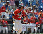 Mississippi's Miles Hamblin flies out vs. South Carolina during the Southeastern Conference tournament at Regions Park in Hoover, Ala. on Wednesday, May 26, 2010. Ole Miss won 3-0.