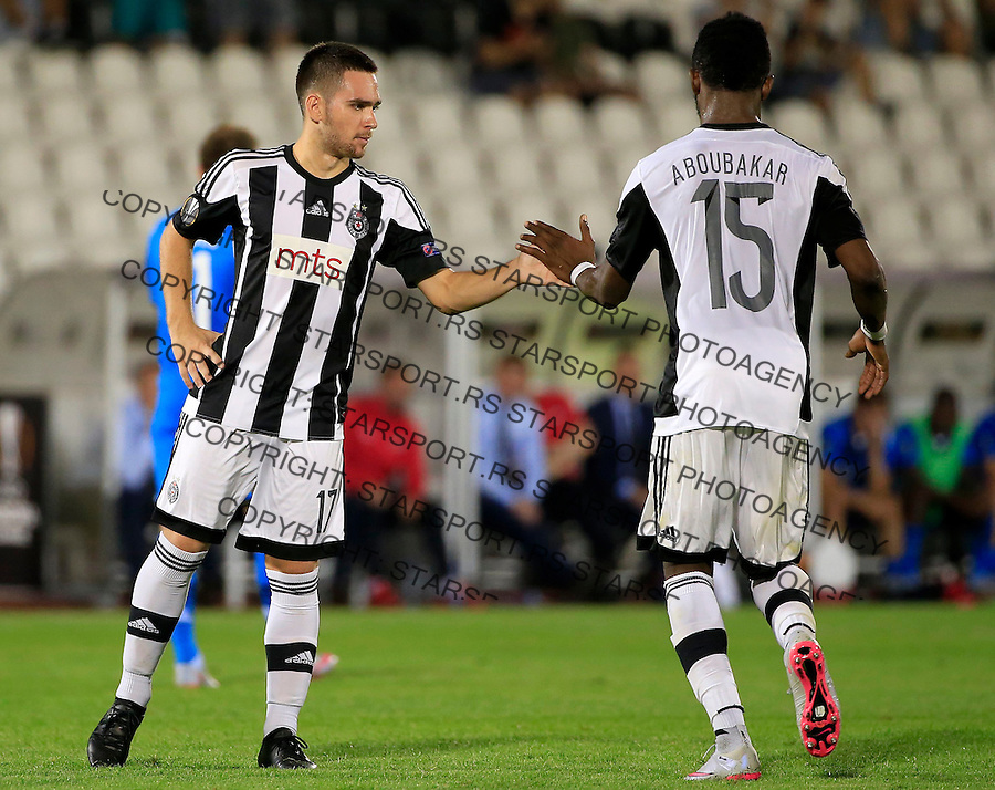 Fudbal UEFA Europa League 2015-2016<br /> Group stage - Group L<br /> Partizan v AZ Alkmaar<br /> Andrija Zivkovic (L) and Oumaru Aboubakar<br /> Beograd, 17.09.2015.<br /> foto: Srdjan Stevanovic/Starsportphoto &copy;