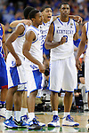 2 APR 2012: Teammates Terrence Jones (3) and Anthony Davis (23) from the University of Kentucky celebrate with their teammates in the final seconds during the Championship Game of the 2012 NCAA Men's Division I Basketball Championship Final Four held at the Mercedes-Benz Superdome hosted by Tulane University in New Orleans, LA. Kentucky defeated Kansas 67-59 to claim the championship title. Ryan McKeee/ NCAA Photos.