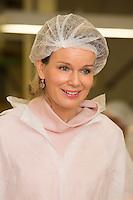 Queen Mathilde of Belgium during a visit at the ' Vanparys ' factory - Belgium