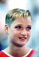 July 26, 1998; New York, NY, USA; Portrait of artistic gymnast Svetlana Khorkina of Russia interviewed in press mixed zone at 1998 Goodwill Games New York. Copyright 1998 Tom Theobald