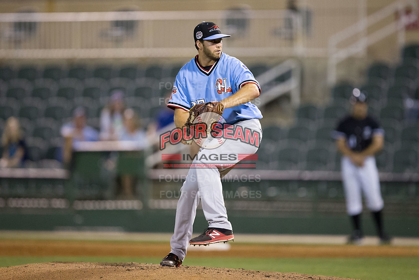 Hickory Crawdads relief pitcher Kaleb Fontenot (35) in action against the Kannapolis Intimidators at Kannapolis Intimidators Stadium on May 18, 2017 in Kannapolis, North Carolina.  The Crawdads defeated the Intimidators 6-4.  (Brian Westerholt/Four Seam Images)