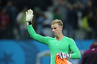 England Goalkeeper Joe Hart In tears waves to the England fans after 2-1 defeat