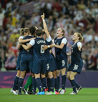 London, England - Thursday, August 9, 2012: The USA defeated Japan 2-1 to win the London 2012 Olympic gold medal at Wembley Stadium. The USA celebrates. .