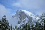 CA: Yosemite National Park, Half Dome, Winter, snow, mist     .Photo Copyright: Lee Foster, lee@fostertravel.com, www.fostertravel.com, (510) 549-2202.cayose206