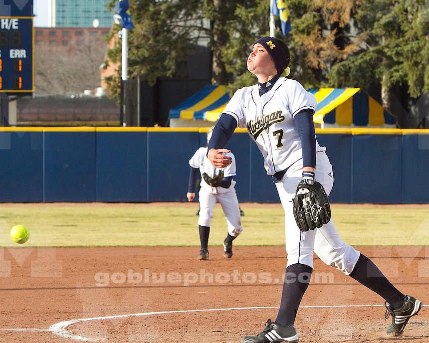 University of Michigan softball 4-2 victory over Bowling Green at Alumni Field in Ann Arbor, MI on March 30, 2011.