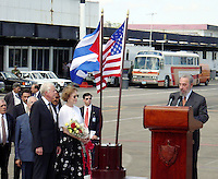 "Photo File/ Former U.S. President Jimmy Carter (L) listens to Cuban President Fidel Castro during a welcoming ceremony at ""Jose Marti"" International airport in Havana, May 12, 2002. Carter is on a six-day visit to Cuba, and is the first American president to visit the communist island since Fidel Castro took power in 1959. Credit: Jorge Rey/MediaPunch"