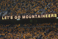 Let's Go Mountaineers message in stadium. The West Virginia Mountaineers defeated the South Florida Bulls 20-6 on October 14, 2010 at Mountaineer Field, Morgantown, West Virginia.