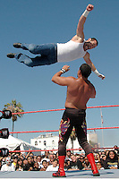 BOUT 3-Chavo Guerrero and Jimmy Wang Yang wrestle during the WWE SummerSlam weekend in Venice on Saturday, Aug 18, 2007. Chavo Guerrero pinned Jimmy Wang Yang and won the bout...