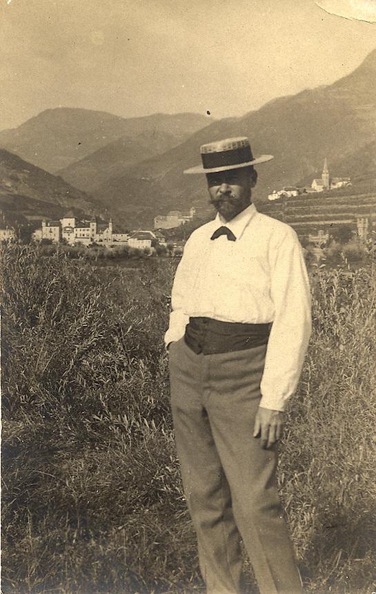 Title: Outdoor Photograph of S. H. Crone in straw hat<br /> Type: Photo<br /> Cat #: 024b.<br /> File Name: cronephoto6<br /> Image checked: c tif<br /> Formats: original object (2), c tif, b/w tif<br /> Fig # in RTM: page 5