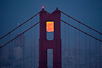 June full moon over Golden Gate Bridge taken from Hawk Hill, Marin Headlands....