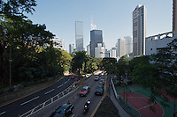Cotton Tree Drive, facing north, with the skyscrapers of Central ahead