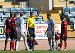 Dundee v St Johnstone...25.04.15   SPFL<br /> Greg Stewart is shown a second yellow card bt referee Craig Thomson and is sent off for diving<br /> Picture by Graeme Hart.<br /> Copyright Perthshire Picture Agency<br /> Tel: 01738 623350  Mobile: 07990 594431