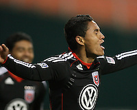 Andy Najar #14 of D.C. United after scoring during a US Open Cup match against F.C. Dallas on April 28 2010, at RFK Stadium in Washington D.C. united won 4-2.