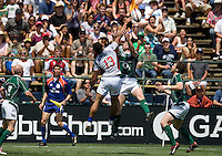 31 May 2009: Junior Sifa of USA battles for the ball against Ireland player during the Rugby game at Buck Shaw Stadium in Santa Clara, California.   Ireland defeated USA, 27-10.