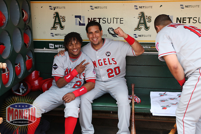 OAKLAND, CA - JULY 18:  Erick Aybar #2 and Juan Rivera #20 of the Los Angeles Angels of Anaheim get ready in the dugout before the game against the Oakland Athletics at the Oakland-Alameda County Coliseum on July 18, 2009 in Oakland, California. Photo by Brad Mangin