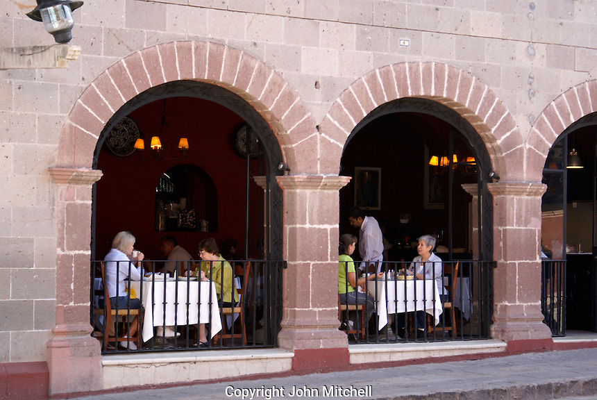 People sitting in a restaurant in San Miguel de Allende, Mexico