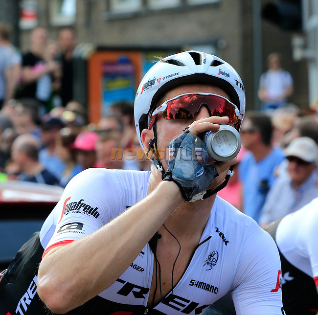 Ryder Hesjedal (CAN) Trek-Segafredo at the finish line in Nijmegen at the end of Stage 2 of the 2016 Giro d'Italia running 190km from Arnhem to Nijmegen, The Nethrerlands. 7th May 2016.<br /> Picture: Eoin Clarke | Newsfile<br /> <br /> <br /> All photos usage must carry mandatory copyright credit (&copy; Newsfile | Eoin Clarke)