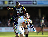 Semesa Rokoduguni of Bath Rugby lands on Mike Brown of Harlequins. Aviva Premiership match, between Bath Rugby and Harlequins on October 31, 2015 at the Recreation Ground in Bath, England. Photo by: Robbie Stephenson / JMP for Onside Images