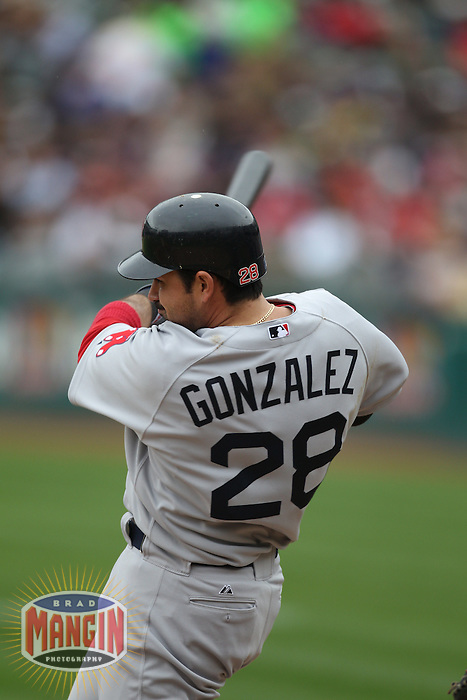 OAKLAND, CA - APRIL 20:  Adrian Gonzalez of the Boston Red Sox bats against the Oakland Athletics during the game at the Oakland-Alameda County Coliseum on April 20, 2010 in Oakland, California. Photo by Brad Mangin
