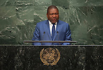 His Excellency Filipe Jacinto Nyusi, President of the Republic of Mozambique<br /> <br /> <br /> 6th plenary meeting High-level plenary meeting of the General Assembly (3rd meeting)