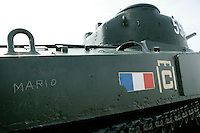 25 April 2004 - Arromanches, France - A graffitti marked WWII tank stand on display for tourists on the hill above the village of Arromanches, France, 25 August 2005.