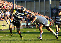 Leroy Houston of Bath Rugby takes on the Harlequins defence. Aviva Premiership match, between Bath Rugby and Harlequins on October 31, 2015 at the Recreation Ground in Bath, England. Photo by: Robbie Stephenson / JMP for Onside Images