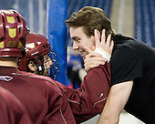 Joe Whitney (BC - 15), Kyle Kucharski - The Boston College Eagles practiced Friday morning, April 9, 2010, at Ford Field during the 2010 Frozen Four in Detroit, Michigan.