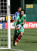 Luis Miguel Noriega carries the ball after his goal. Mexico defeated Nicaragua 2-0 during the First Round of the 2009 CONCACAF Gold Cup at the Oakland, Coliseum in Oakland, California on July 5, 2009.