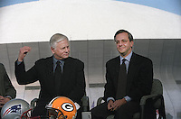 Dick Schaap and Mike Lupica on the set of ESPN's Sports Reporters on locaton in New Orleans for Super Bowl XXXI