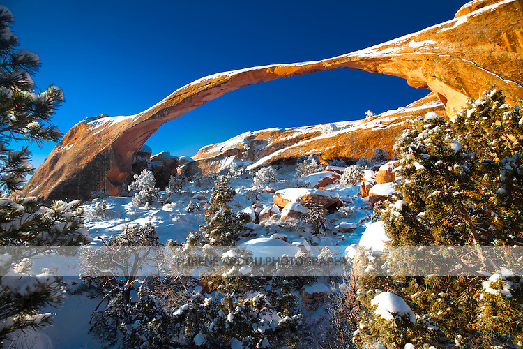 Landscape Arch is one of a number of arches on the beautiful Devil's Garden Trail.  Fantastic rock formations and arches sculpted over thousands of years by wind, rain, and other forces of erosion dot the winter landscape of Arches National Park in southern Utah.