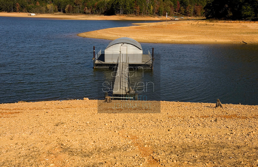 A dock relocated on a section of Lake Lanier due to falling water levels.