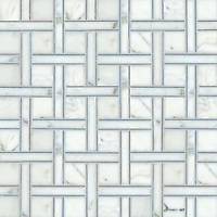 Parker, a natural stone mosaic shown in Bardiglio, polished Calacatta Tia, is part of the Silk Road Collection by Sara Baldwin for New Ravenna Mosaics. <br />